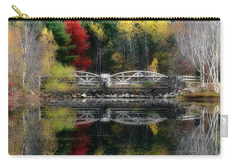 Lincoln Woods Carry-all Pouch featuring the photograph Lincoln Woods Autumn Panoramic by Mike Nellums
