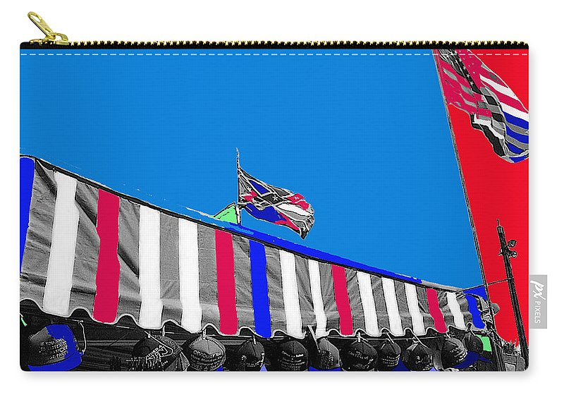 Line Of Hats Tent Us Confederate Flags Tucson Arizona 1984 Color Added Carry-all Pouch featuring the photograph Line Of Hats Tent Us Confederate Flags Tucson Arizona 1984-2012 by David Lee Guss