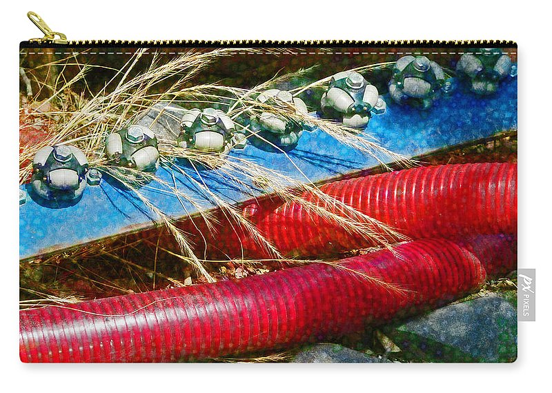 Red Carry-all Pouch featuring the photograph Lines Of Power by Steve Taylor