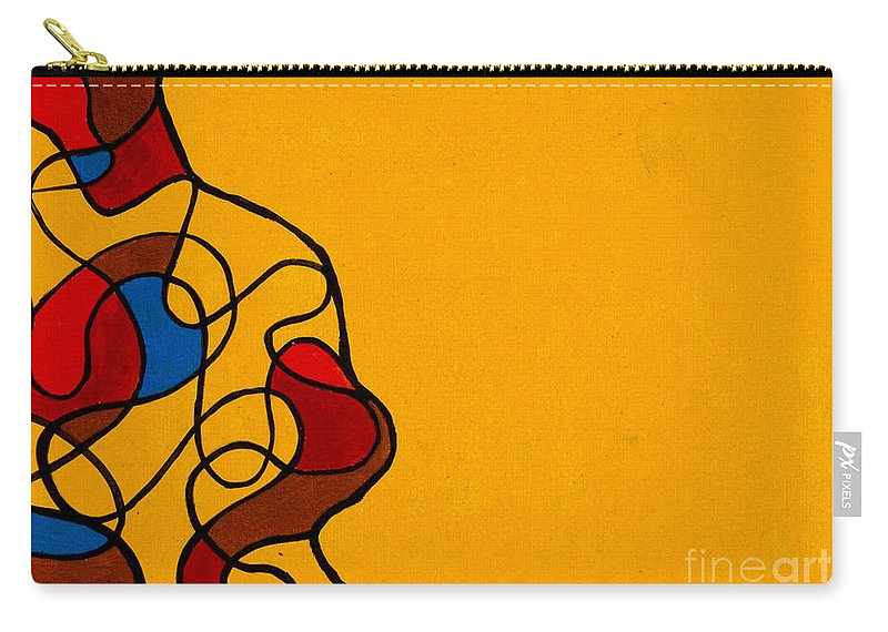 Yellow Carry-all Pouch featuring the painting Linework Yellow by Stefanie Forck