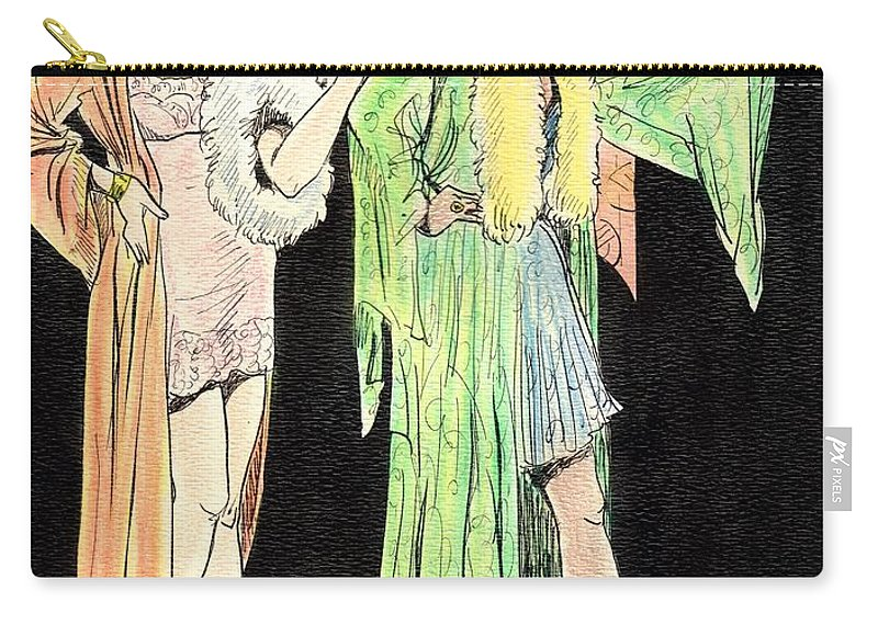 Nostalgia Carry-all Pouch featuring the painting Lingerie Ladies by Mel Thompson