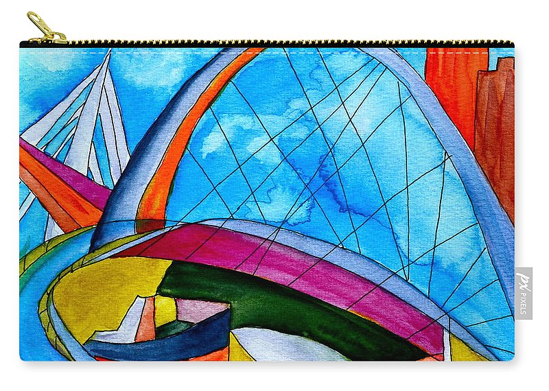 Bridge Carry-all Pouch featuring the painting Linking by Beverley Harper Tinsley