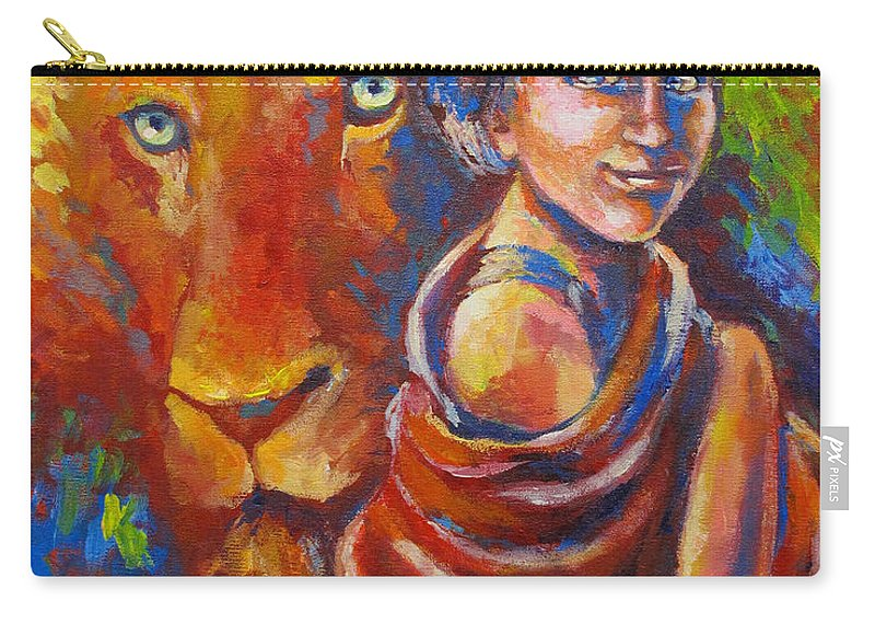 Prophetic Art Carry-all Pouch featuring the painting Lion Covering by Tamer and Cindy Elsharouni
