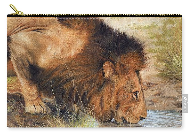 Lion Carry-all Pouch featuring the painting Lion by David Stribbling