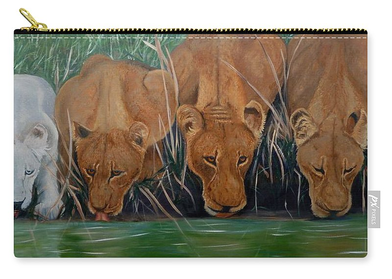 Nature Carry-all Pouch featuring the painting Lion Family by Petra Stephens