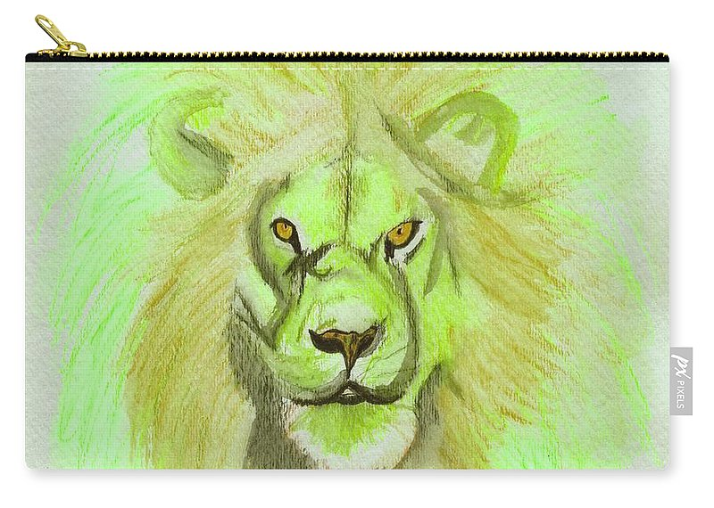 Lion Carry-all Pouch featuring the digital art Lion Green by First Star Art