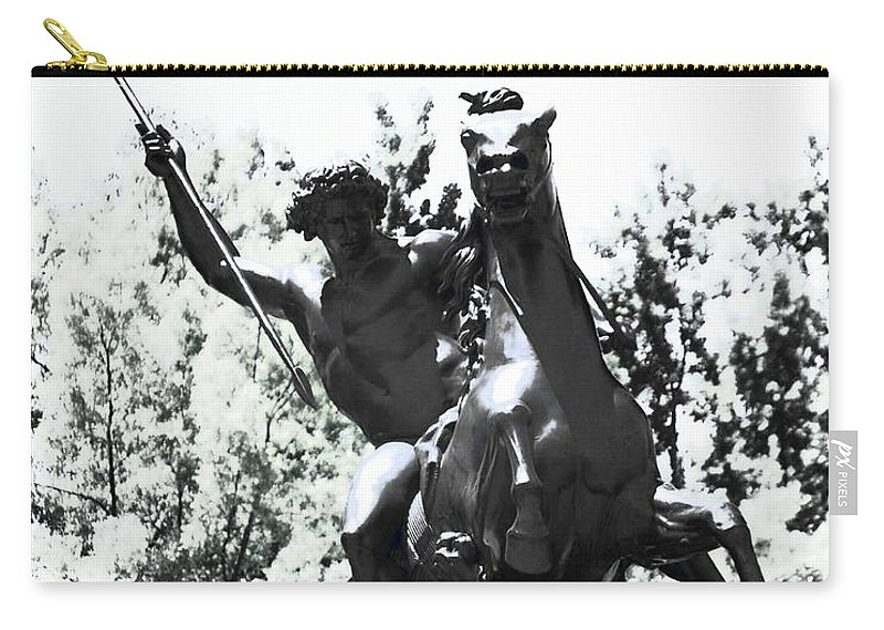 Statue Carry-all Pouch featuring the photograph Lion King by John Feiser