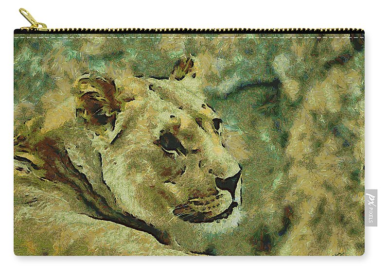 Lion Looking Back Carry-all Pouch featuring the digital art Lion Looking Back by Ernie Echols