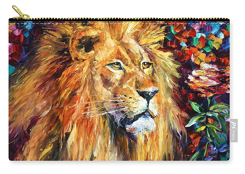 Afremov Carry-all Pouch featuring the painting Lion by Leonid Afremov