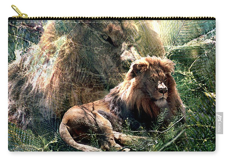 Lion Carry-all Pouch featuring the digital art Lion Spirit by Lisa Yount