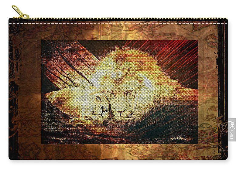 Lion Carry-all Pouch featuring the digital art Lion Tapestry - Soulmates by Absinthe Art By Michelle LeAnn Scott