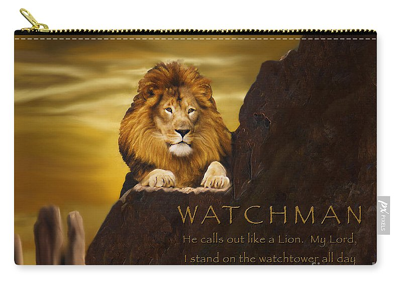 Lion Carry-all Pouch featuring the digital art Lion Watchman by Constance Woods