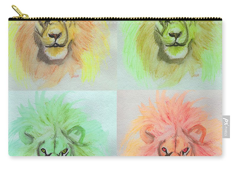 Lion Carry-all Pouch featuring the painting Lion X 4 by First Star Art