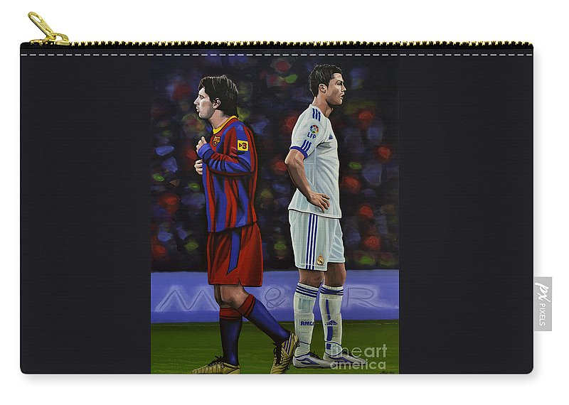 Lionel Messi Carry-all Pouch featuring the painting Lionel Messi and Cristiano Ronaldo by Paul Meijering