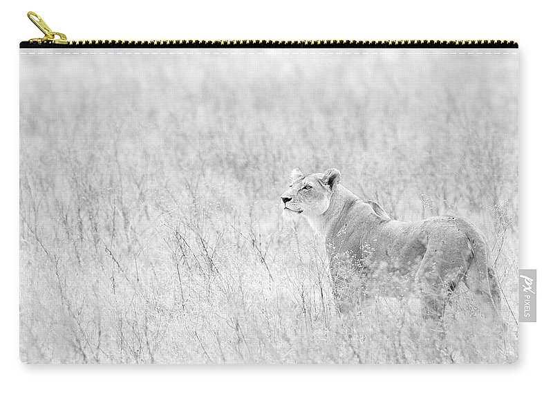 African Lion Carry-all Pouch featuring the photograph Lioness In Black And White by Max Waugh