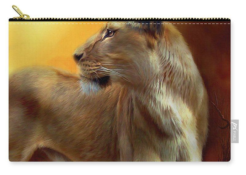 Lion Carry-all Pouch featuring the mixed media Lioness Is Near by Carol Cavalaris