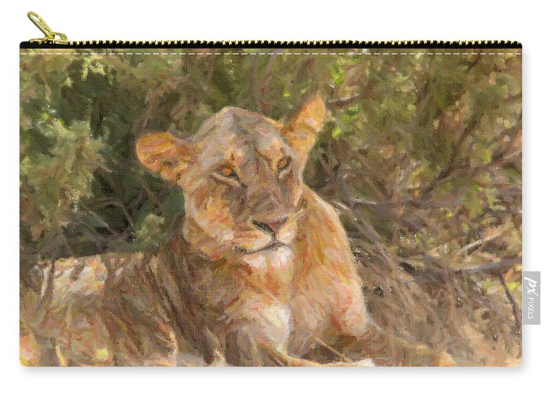 Lioness Carry-all Pouch featuring the digital art Lioness Panthera Leo Resting by Liz Leyden