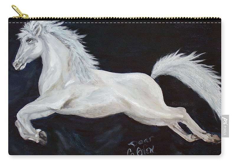 Horse Carry-all Pouch featuring the painting Lipizzaner Capriole by Caroline Owen-Doar