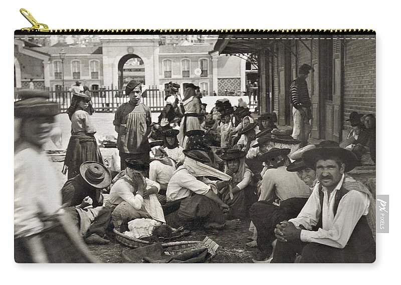 1911 Carry-all Pouch featuring the painting Lisbon Fish Market, C1911 by Granger