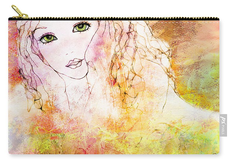 Girl Carry-all Pouch featuring the digital art Listen To The Colour Of Your Dreams by Barbara Orenya