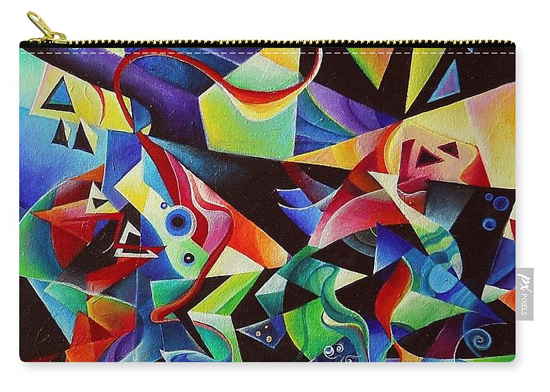 Arnold Schoenberg Piano Concert No.1 Acrylic Abstract Pens Music Carry-all Pouch featuring the painting listening to piano concert op.42 of Arnold Schoenberg by Wolfgang Schweizer