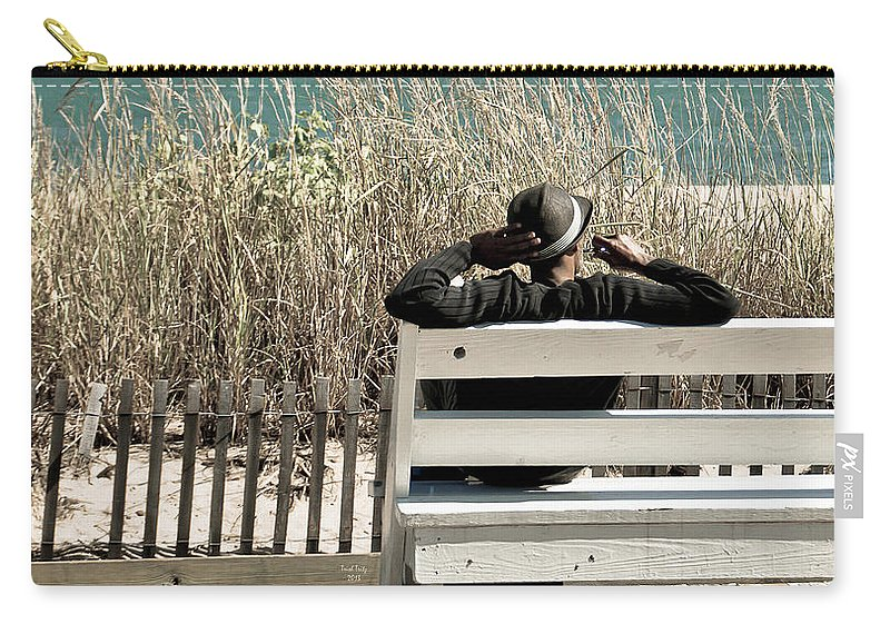 Man Carry-all Pouch featuring the mixed media Listening To The Waves by Trish Tritz