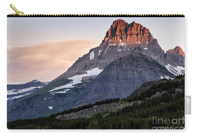 Glacier Carry-all Pouch featuring the photograph Lit Peaks by Timothy Hacker