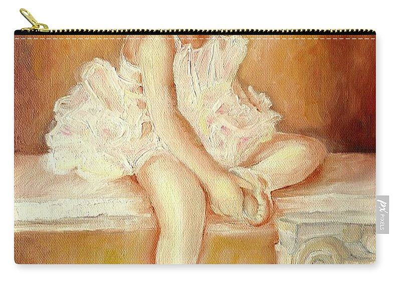 Ballerinas Carry-all Pouch featuring the painting Little Ballerina by Carole Spandau