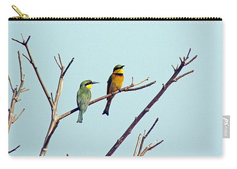 Bee Eaters Carry-all Pouch featuring the photograph Little Bee-eaters by Tony Murtagh
