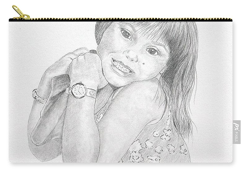 Portrait Drawings Carry-all Pouch featuring the drawing Little Bella by Joette Snyder