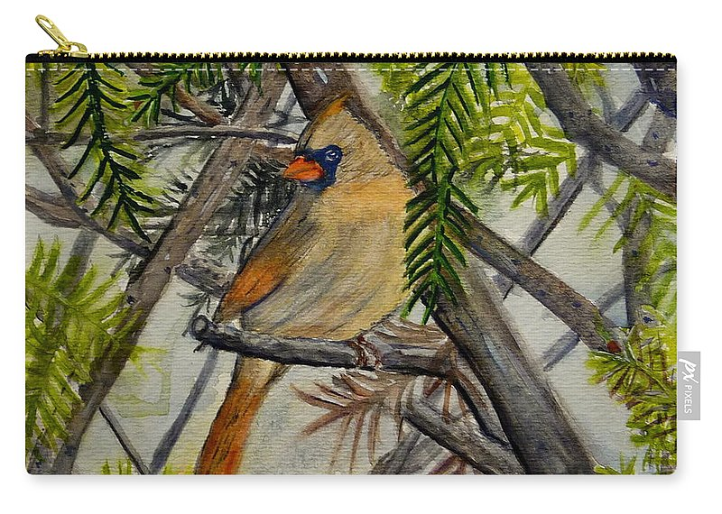 Cardinal Carry-all Pouch featuring the painting Little Birdie by Melly Terpening