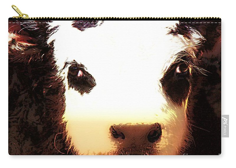 Angus Calf Carry-all Pouch featuring the photograph Little Black Baldy by Barbara Chichester