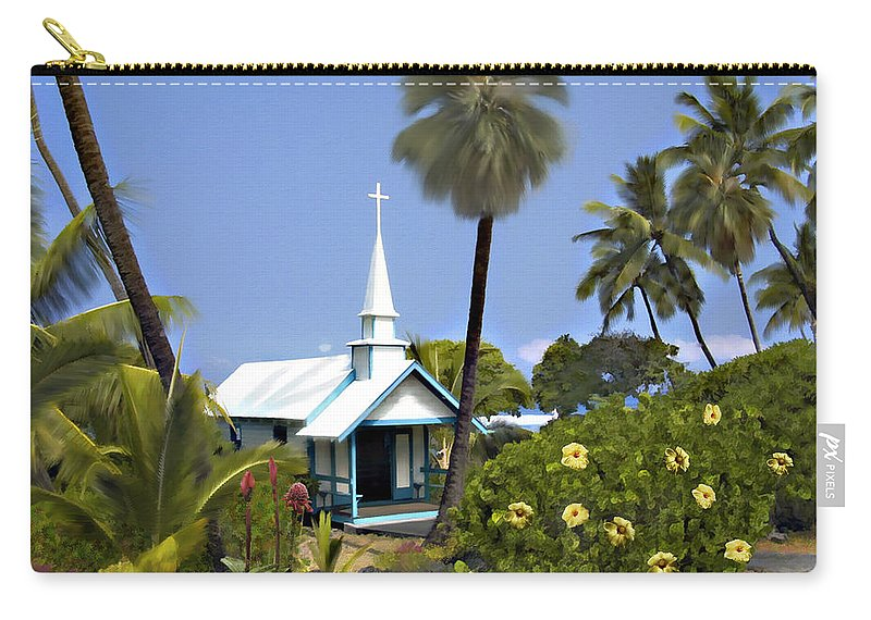 Hawaii Carry-all Pouch featuring the photograph Little Blue Church Kona by Kurt Van Wagner