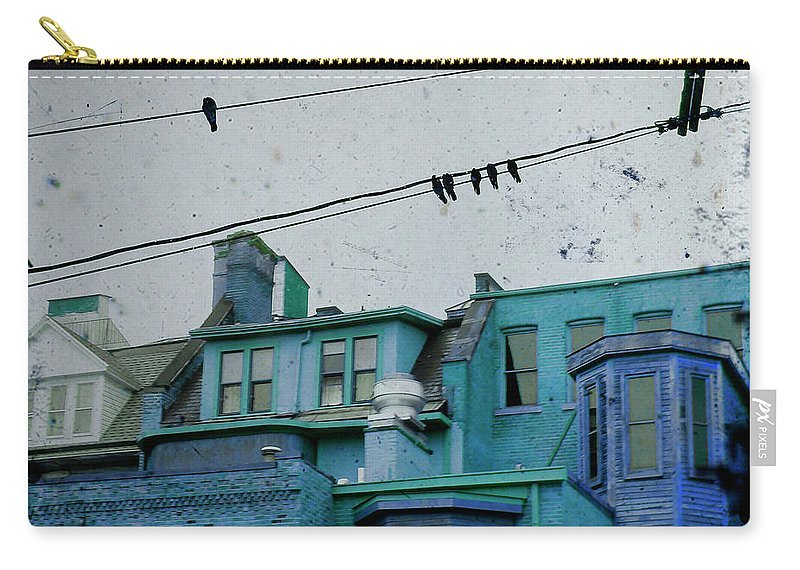Urban Houses Carry-all Pouch featuring the photograph Little Blue Houses by Gothicrow Images