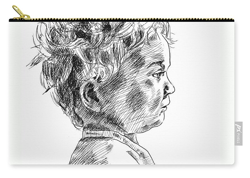 Childhood Carry-all Pouch featuring the drawing Little Boy by Masha Batkova