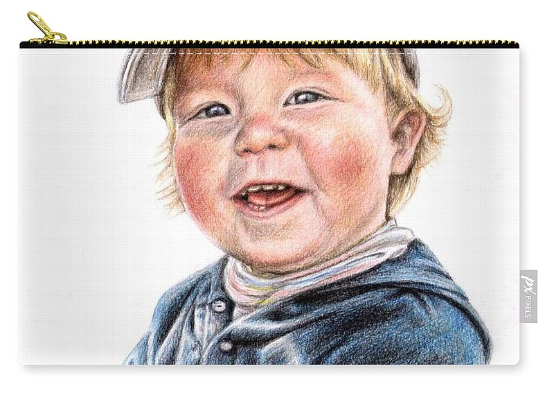 Boy Carry-all Pouch featuring the drawing Little Boy by Nicole Zeug