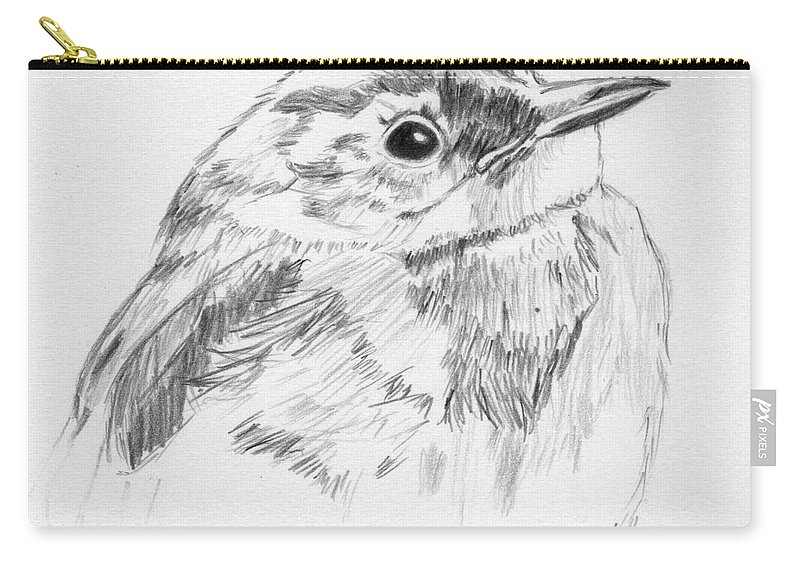 Bird Carry-all Pouch featuring the drawing Little Buddy by Crystal Hubbard