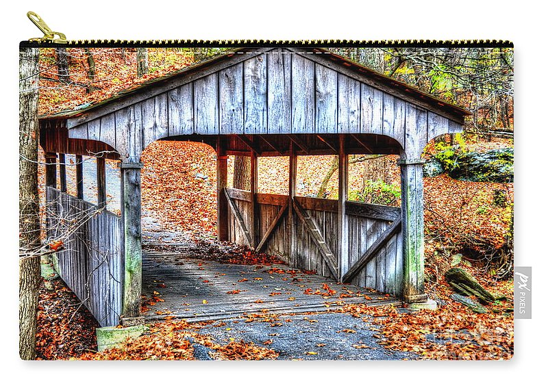 Covered Bridge Carry-all Pouch featuring the photograph Little Covered Bridge II by Debbi Granruth