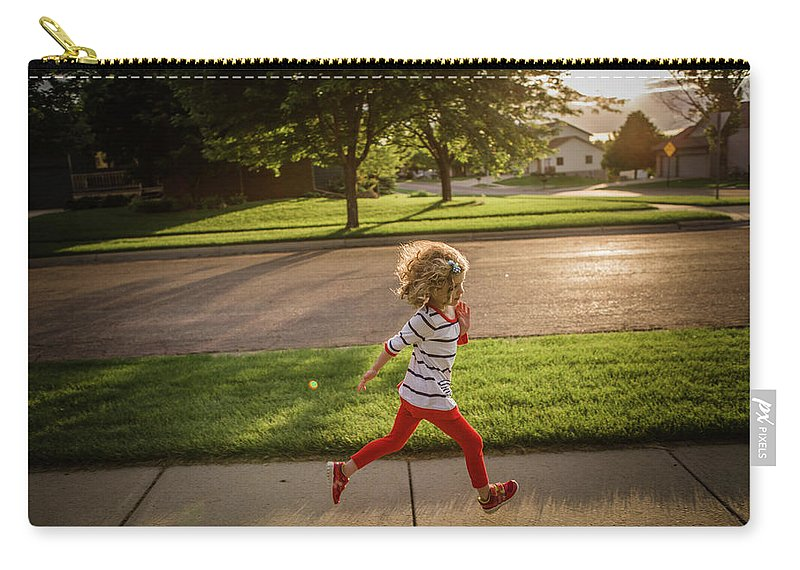 4-5 Years Carry-all Pouch featuring the photograph Little Girl Running by Annie Otzen