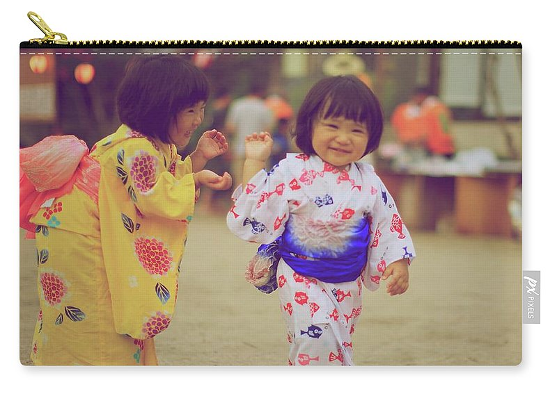 Tottori Prefecture Carry-all Pouch featuring the photograph Little Girls At A Festival by Marvin Fox