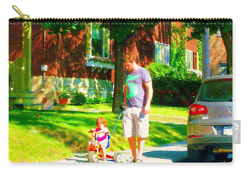 Montreal Carry-all Pouch featuring the painting Little Girls First Bike Lesson With Dad Beautiful Tree Lined Street Summer Scene Carole Spandau by Carole Spandau