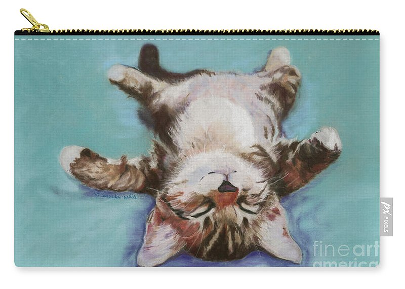 Cat Painting Carry-all Pouch featuring the pastel Little Napper by Pat Saunders-White