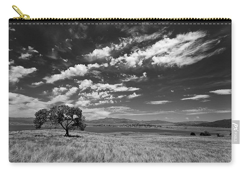 Big Sky Carry-all Pouch featuring the photograph Little Prarie Big Sky - Black And White by Peter Tellone