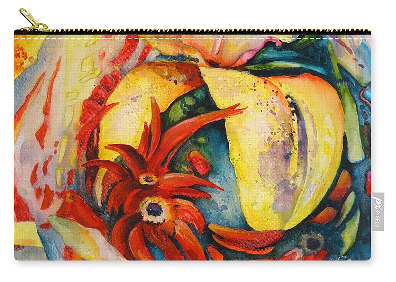 Floral Carry-all Pouch featuring the painting Little Red Devils by Miki De Goodaboom