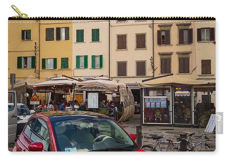 Europe Carry-all Pouch featuring the photograph Little Red Fiat by Inge Johnsson