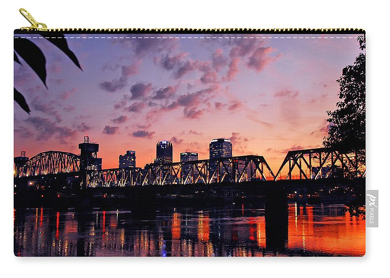 Little Rock Carry-all Pouch featuring the photograph Little Rock Bridge Sunset by Mitchell R Grosky