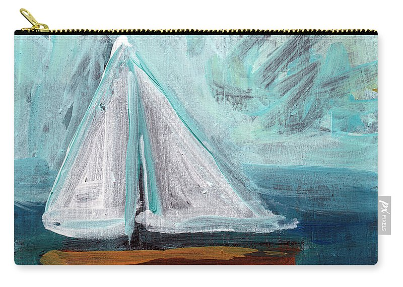 Boat Carry-all Pouch featuring the painting Little Sailboat- Expressionist Painting by Linda Woods