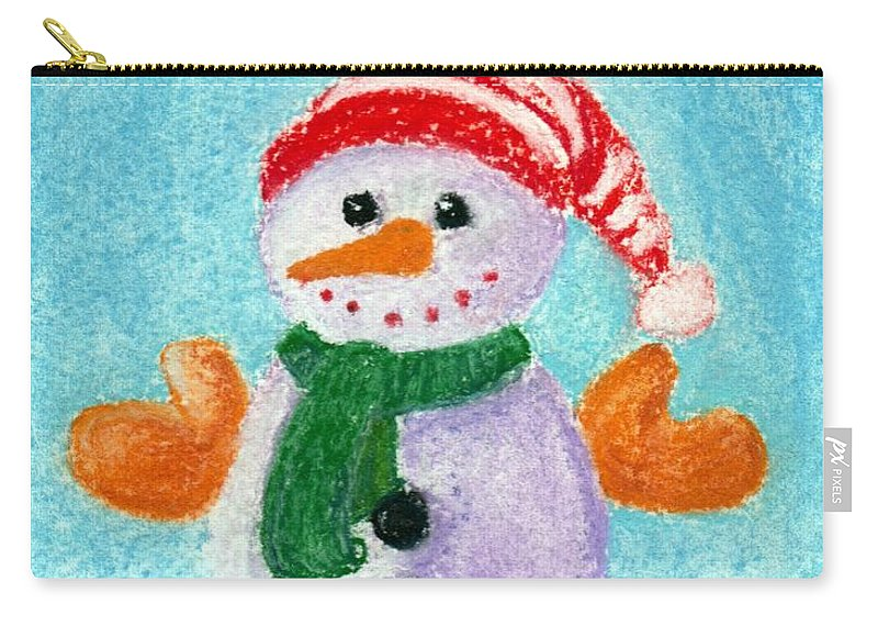 Decorative Carry-all Pouch featuring the painting Little Snowman by Anastasiya Malakhova