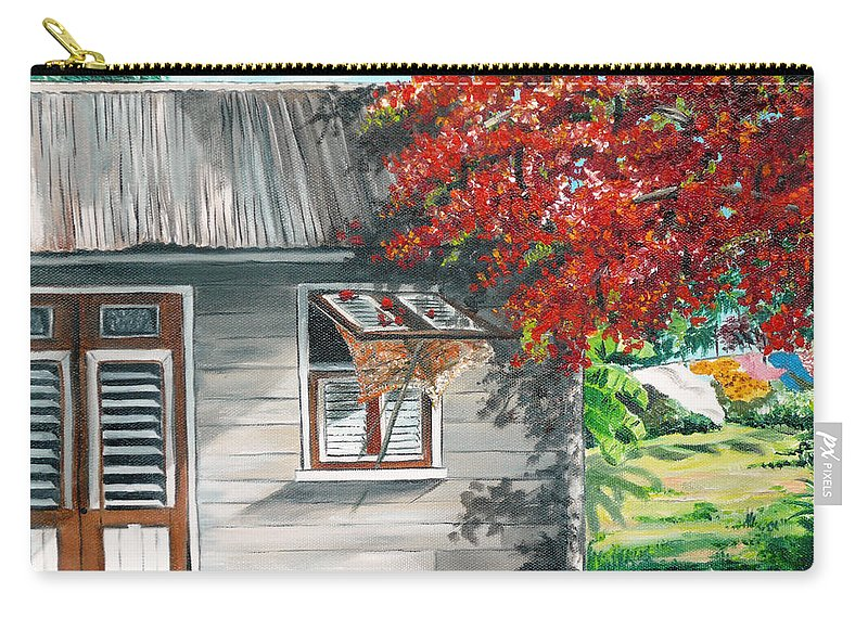 Caribbean Painting Typical Country House In The Caribbean Or West Indian Islands With Flamboyant Tree Tropical Painting Carry-all Pouch featuring the painting Little West Indian House 1 by Karin Dawn Kelshall- Best