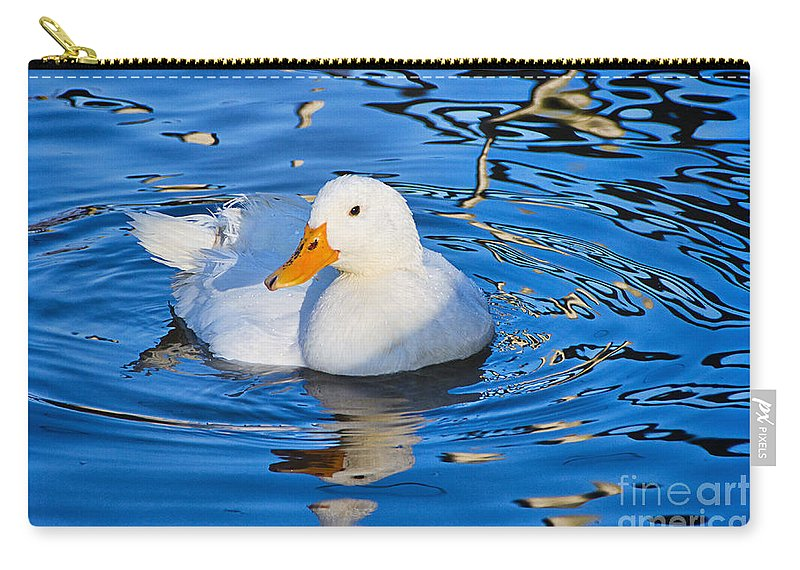Duck Carry-all Pouch featuring the photograph Little White Duck by Susie Peek